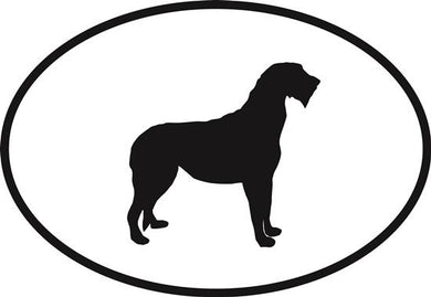 Irish Wolfhound decal from Oval Envy.  Great price for a durable vinyl decal.  We've got animals, beaches, dogs, cats and more!  Search our catalog for your next Euro Oval Decal.