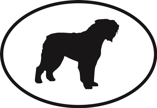 Bouvier decal from Oval Envy.  Great price for a durable vinyl decal.  We've got animals, beaches, dogs, cats and more!  Search our catalog for your next Euro Oval Decal.