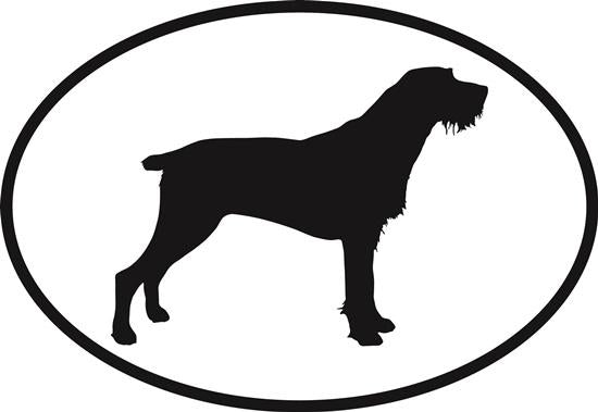 German Wirehaired Pointer decal from Oval Envy.  Great price for a durable vinyl decal.  We've got animals, beaches, dogs, cats and more!  Search our catalog for your next Euro Oval Decal.
