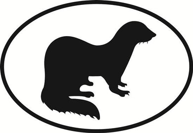 Ferret decal from Oval Envy.  Great price for a durable vinyl decal.  We've got animals, beaches, dogs, cats and more!  Search our catalog for your next Euro Oval Decal.