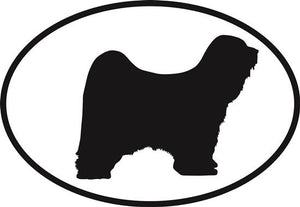 Tibetan Terrier decal from Oval Envy.  Great price for a durable vinyl decal.  We've got animals, beaches, dogs, cats and more!  Search our catalog for your next Euro Oval Decal.