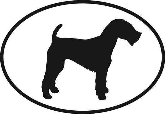 Welsh Terrier decal from Oval Envy.  Great price for a durable vinyl decal.  We've got animals, beaches, dogs, cats and more!  Search our catalog for your next Euro Oval Decal.