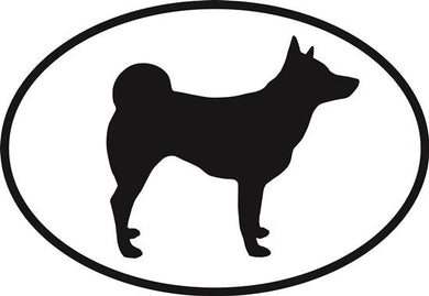 Norwegian Elkhound decal from Oval Envy.  Great price for a durable vinyl decal.  We've got animals, beaches, dogs, cats and more!  Search our catalog for your next Euro Oval Decal.
