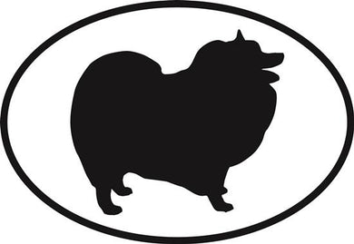 Keeshonden decal from Oval Envy.  Great price for a durable vinyl decal.  We've got animals, beaches, dogs, cats and more!  Search our catalog for your next Euro Oval Decal.