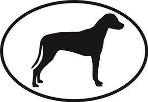Rhodesian Ridgeback decal from Oval Envy.  Great price for a durable vinyl decal.  We've got animals, beaches, dogs, cats and more!  Search our catalog for your next Euro Oval Decal.