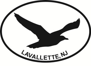 Lavallette Seagull decal from Oval Envy.  Great price for a durable vinyl decal.  We've got animals, beaches, dogs, cats and more!  Search our catalog for your next Euro Oval Decal.