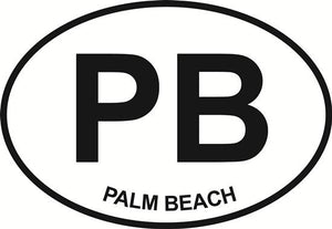 Palm Beach (PB) decal from Oval Envy.  Great price for a durable vinyl decal.  We've got animals, beaches, dogs, cats and more!  Search our catalog for your next Euro Oval Decal.