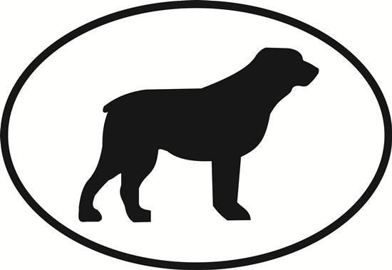 Rottweiler decal from Oval Envy.  Great price for a durable vinyl decal.  We've got animals, beaches, dogs, cats and more!  Search our catalog for your next Euro Oval Decal.