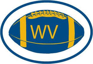 West Virginia Football decal from Oval Envy.  Great price for a durable vinyl decal.  We've got animals, beaches, dogs, cats and more!  Search our catalog for your next Euro Oval Decal.