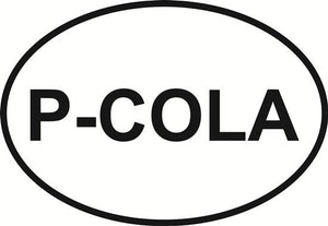 Pensacola (P-Cola) decal from Oval Envy.  Great price for a durable vinyl decal.  We've got animals, beaches, dogs, cats and more!  Search our catalog for your next Euro Oval Decal.