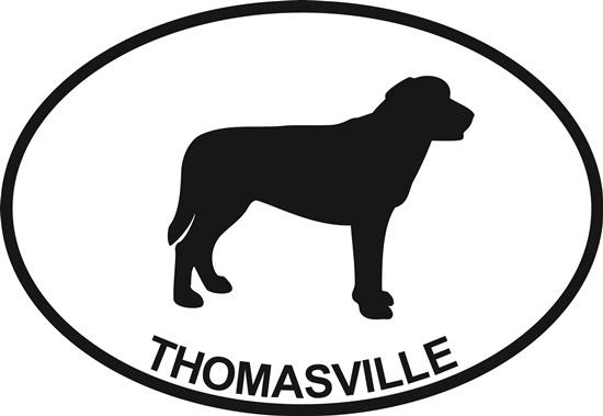 Laborador (Thomasville) decal from Oval Envy.  Great price for a durable vinyl decal.  We've got animals, beaches, dogs, cats and more!  Search our catalog for your next Euro Oval Decal.