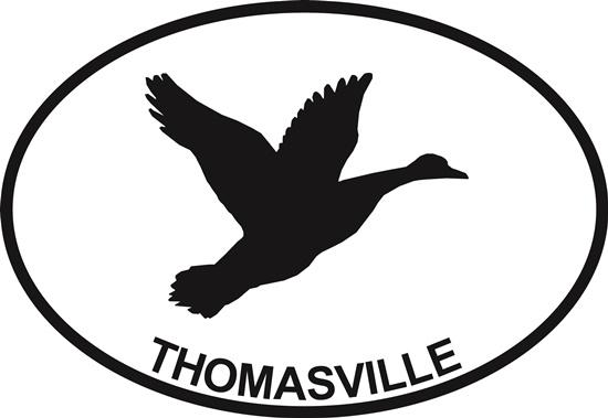 Duck (Thomasville) decal from Oval Envy.  Great price for a durable vinyl decal.  We've got animals, beaches, dogs, cats and more!  Search our catalog for your next Euro Oval Decal.