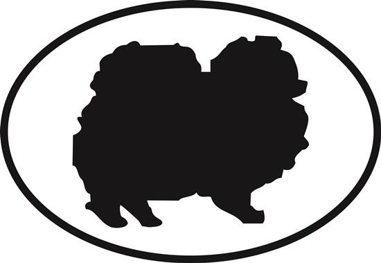 Pomeranian decal from Oval Envy.  Great price for a durable vinyl decal.  We've got animals, beaches, dogs, cats and more!  Search our catalog for your next Euro Oval Decal.