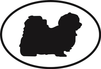 Maltese decal from Oval Envy.  Great price for a durable vinyl decal.  We've got animals, beaches, dogs, cats and more!  Search our catalog for your next Euro Oval Decal.