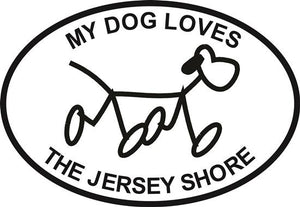 Jersey Dog decal from Oval Envy.  Great price for a durable vinyl decal.  We've got animals, beaches, dogs, cats and more!  Search our catalog for your next Euro Oval Decal.