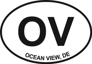Ocean View (OV) decal from Oval Envy.  Great price for a durable vinyl decal.  We've got animals, beaches, dogs, cats and more!  Search our catalog for your next Euro Oval Decal.