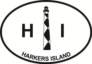 Harkers Island Light decal from Oval Envy.  Great price for a durable vinyl decal.  We've got animals, beaches, dogs, cats and more!  Search our catalog for your next Euro Oval Decal.