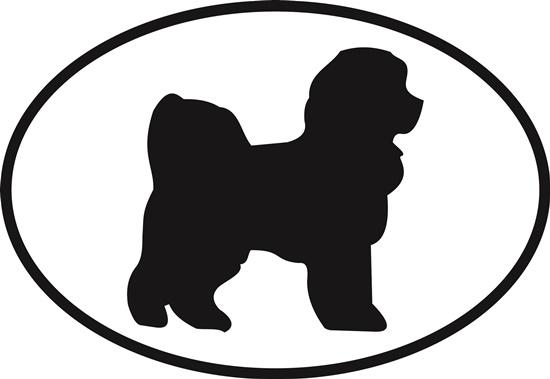 Bichon Frise decal from Oval Envy.  Great price for a durable vinyl decal.  We've got animals, beaches, dogs, cats and more!  Search our catalog for your next Euro Oval Decal.