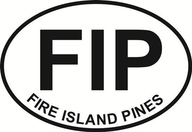 Fire Island Pines (FIP) decal from Oval Envy.  Great price for a durable vinyl decal.  We've got animals, beaches, dogs, cats and more!  Search our catalog for your next Euro Oval Decal.