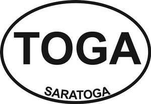 Saratoga (TOGA) decal from Oval Envy.  Great price for a durable vinyl decal.  We've got animals, beaches, dogs, cats and more!  Search our catalog for your next Euro Oval Decal.
