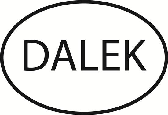 Dalek decal from Oval Envy.  Great price for a durable vinyl decal.  We've got animals, beaches, dogs, cats and more!  Search our catalog for your next Euro Oval Decal.