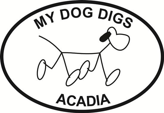 Acadia Dog decal from Oval Envy.  Great price for a durable vinyl decal.  We've got animals, beaches, dogs, cats and more!  Search our catalog for your next Euro Oval Decal.