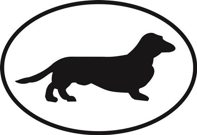 Dachshund New decal from Oval Envy.  Great price for a durable vinyl decal.  We've got animals, beaches, dogs, cats and more!  Search our catalog for your next Euro Oval Decal.