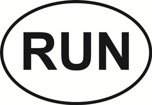 Run decal from Oval Envy.  Great price for a durable vinyl decal.  We've got animals, beaches, dogs, cats and more!  Search our catalog for your next Euro Oval Decal.