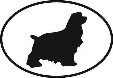 Cocker Spaniel decal from Oval Envy.  Great price for a durable vinyl decal.  We've got animals, beaches, dogs, cats and more!  Search our catalog for your next Euro Oval Decal.
