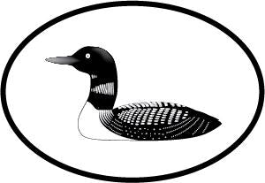 Loon decal from Oval Envy.  Great price for a durable vinyl decal.  We've got animals, beaches, dogs, cats and more!  Search our catalog for your next Euro Oval Decal.