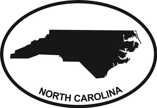 North Carolina (State) decal from Oval Envy.  Great price for a durable vinyl decal.  We've got animals, beaches, dogs, cats and more!  Search our catalog for your next Euro Oval Decal.