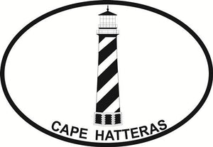 Cape Hatteras Lighthouse decal from Oval Envy.  Great price for a durable vinyl decal.  We've got animals, beaches, dogs, cats and more!  Search our catalog for your next Euro Oval Decal.