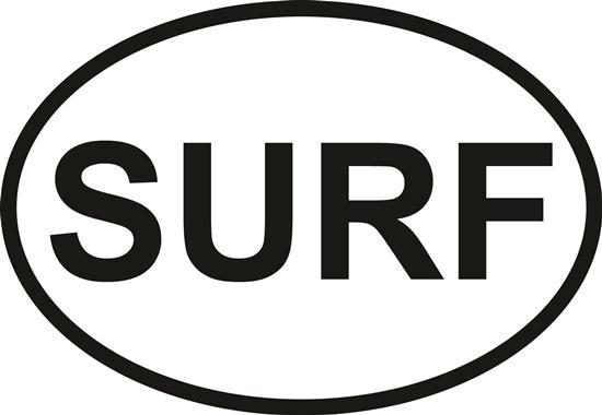 Surf decal from Oval Envy.  Great price for a durable vinyl decal.  We've got animals, beaches, dogs, cats and more!  Search our catalog for your next Euro Oval Decal.