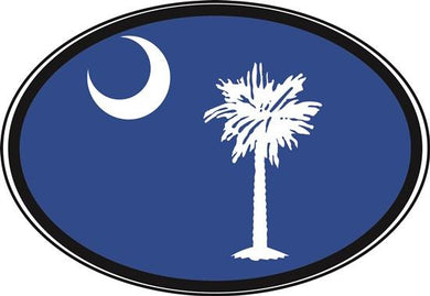 South Carolina Blue Flag decal from Oval Envy.  Great price for a durable vinyl decal.  We've got animals, beaches, dogs, cats and more!  Search our catalog for your next Euro Oval Decal.