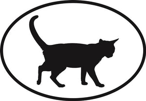 Cat decal from Oval Envy.  Great price for a durable vinyl decal.  We've got animals, beaches, dogs, cats and more!  Search our catalog for your next Euro Oval Decal.