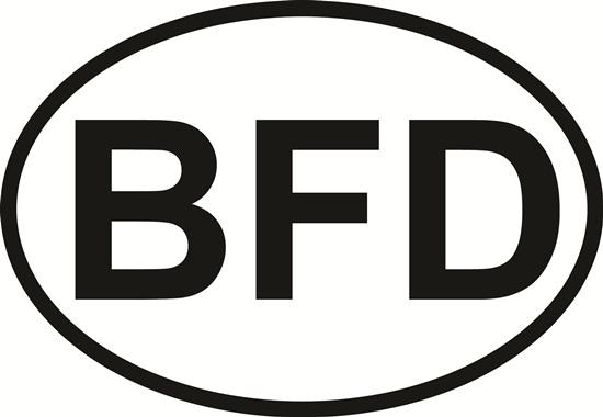 BFD decal from Oval Envy.  Great price for a durable vinyl decal.  We've got animals, beaches, dogs, cats and more!  Search our catalog for your next Euro Oval Decal.