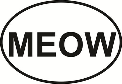 Meow decal from Oval Envy.  Great price for a durable vinyl decal.  We've got animals, beaches, dogs, cats and more!  Search our catalog for your next Euro Oval Decal.