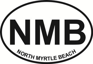 North Myrtle Beach decal from Oval Envy.  Great price for a durable vinyl decal.  We've got animals, beaches, dogs, cats and more!  Search our catalog for your next Euro Oval Decal.