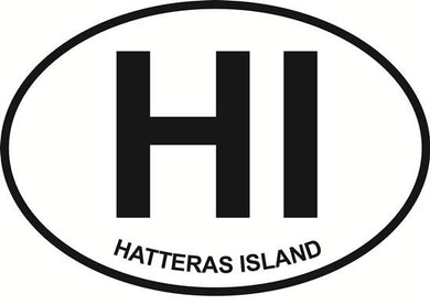 Hatteras Island decal from Oval Envy.  Great price for a durable vinyl decal.  We've got animals, beaches, dogs, cats and more!  Search our catalog for your next Euro Oval Decal.