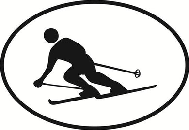 Downhill Skiing decal from Oval Envy.  Great price for a durable vinyl decal.  We've got animals, beaches, dogs, cats and more!  Search our catalog for your next Euro Oval Decal.