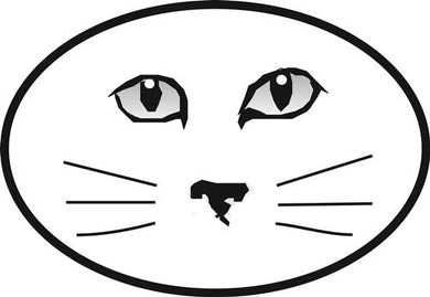 Cat Face decal from Oval Envy.  Great price for a durable vinyl decal.  We've got animals, beaches, dogs, cats and more!  Search our catalog for your next Euro Oval Decal.