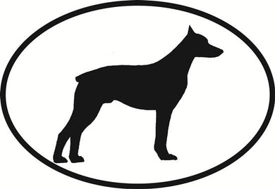 Doberman decal from Oval Envy.  Great price for a durable vinyl decal.  We've got animals, beaches, dogs, cats and more!  Search our catalog for your next Euro Oval Decal.