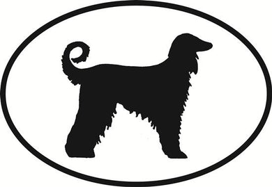 Afghan decal from Oval Envy.  Great price for a durable vinyl decal.  We've got animals, beaches, dogs, cats and more!  Search our catalog for your next Euro Oval Decal.
