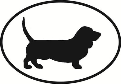 Bassett Hound decal from Oval Envy.  Great price for a durable vinyl decal.  We've got animals, beaches, dogs, cats and more!  Search our catalog for your next Euro Oval Decal.