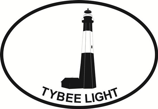 Tybee Island Lighthouse decal from Oval Envy.  Great price for a durable vinyl decal.  We've got animals, beaches, dogs, cats and more!  Search our catalog for your next Euro Oval Decal.