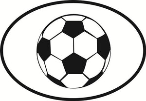 Soccer decal from Oval Envy.  Great price for a durable vinyl decal.  We've got animals, beaches, dogs, cats and more!  Search our catalog for your next Euro Oval Decal.