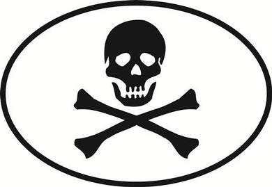 Jolly Roger decal from Oval Envy.  Great price for a durable vinyl decal.  We've got animals, beaches, dogs, cats and more!  Search our catalog for your next Euro Oval Decal.