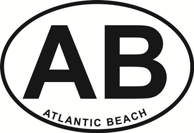 Atlantic Beach decal from Oval Envy.  Great price for a durable vinyl decal.  We've got animals, beaches, dogs, cats and more!  Search our catalog for your next Euro Oval Decal.