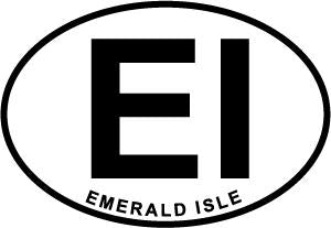 Emerald Isle decal from Oval Envy.  Great price for a durable vinyl decal.  We've got animals, beaches, dogs, cats and more!  Search our catalog for your next Euro Oval Decal.