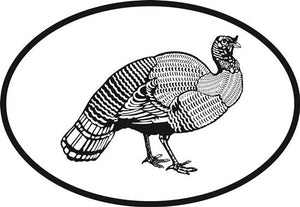 Turkey decal from Oval Envy.  Great price for a durable vinyl decal.  We've got animals, beaches, dogs, cats and more!  Search our catalog for your next Euro Oval Decal.